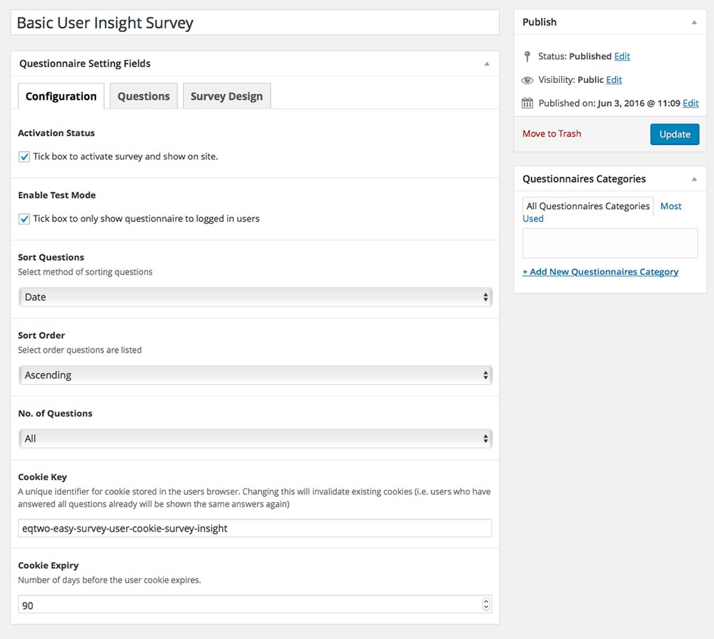 WP Survey Example Settings